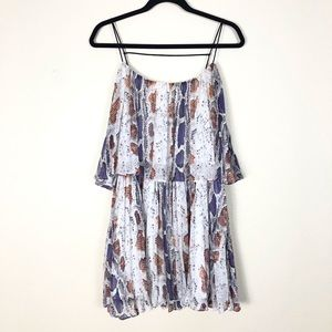 Aakaa snake print tiered mini dress pleated
